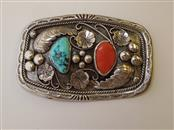 Turquoise Silver-Stone Belt Buckle 925 Silver 98.4g